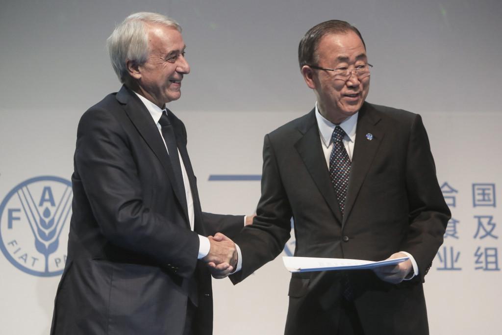 16 October 2015, Milan, Italy - Giuliano Pisapia, Mayor of Milan, left, and UN Secretary-General Ban Ki-moon. World Food Day Ceremony at Expo Milan.