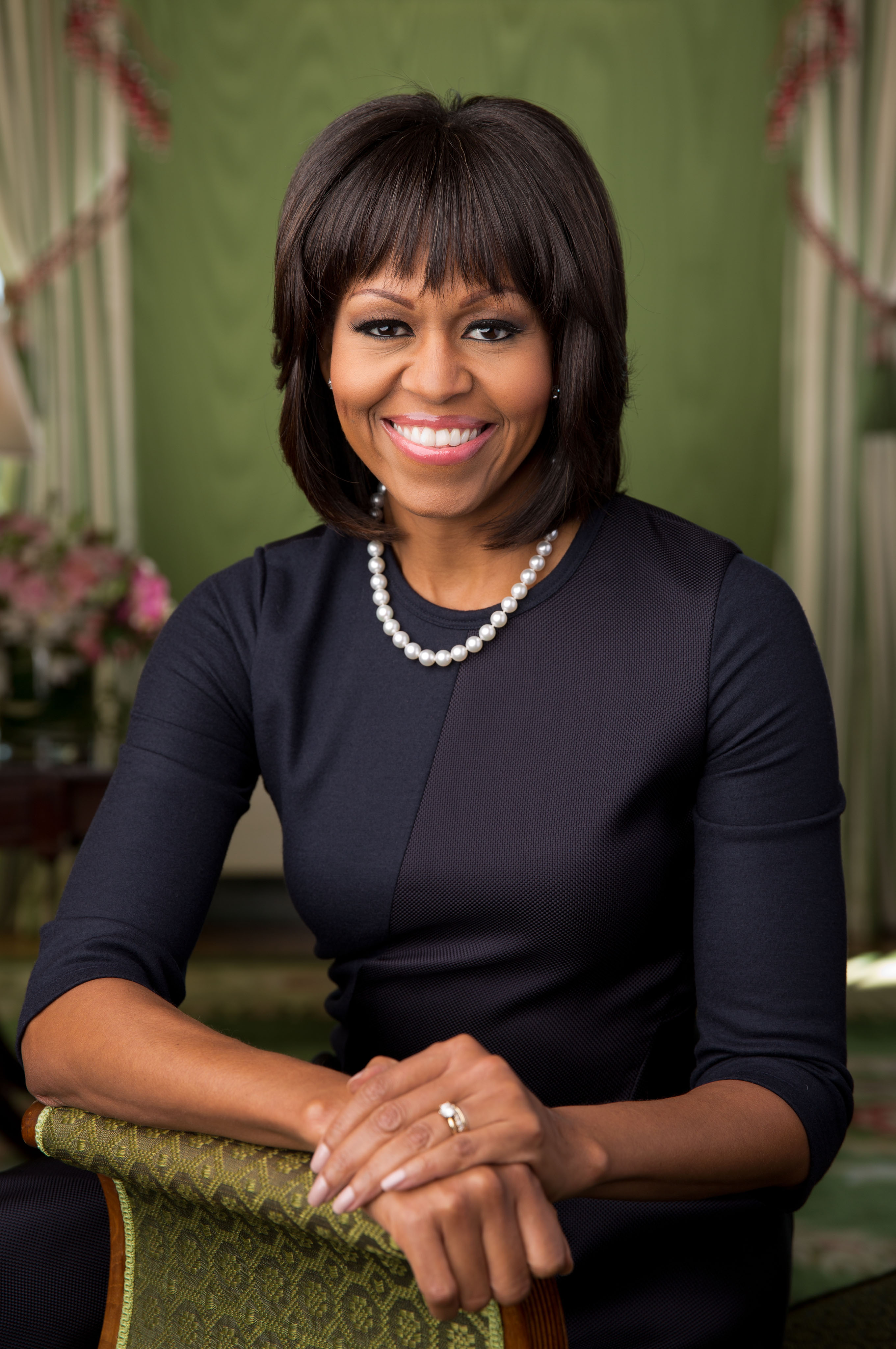 Official portrait of First Lady Michelle Obama in the Green Room of the White House, Feb. 12, 2013. (Official White House Photo by Chuck Kennedy)  This official White House photograph is being made available only for publication by news organizations and/or for personal use printing by the subject(s) of the photograph. The photograph may not be manipulated in any way and may not be used in commercial or political materials, advertisements, emails, products, promotions that in any way suggests approval or endorsement of the President, the First Family, or the White House.