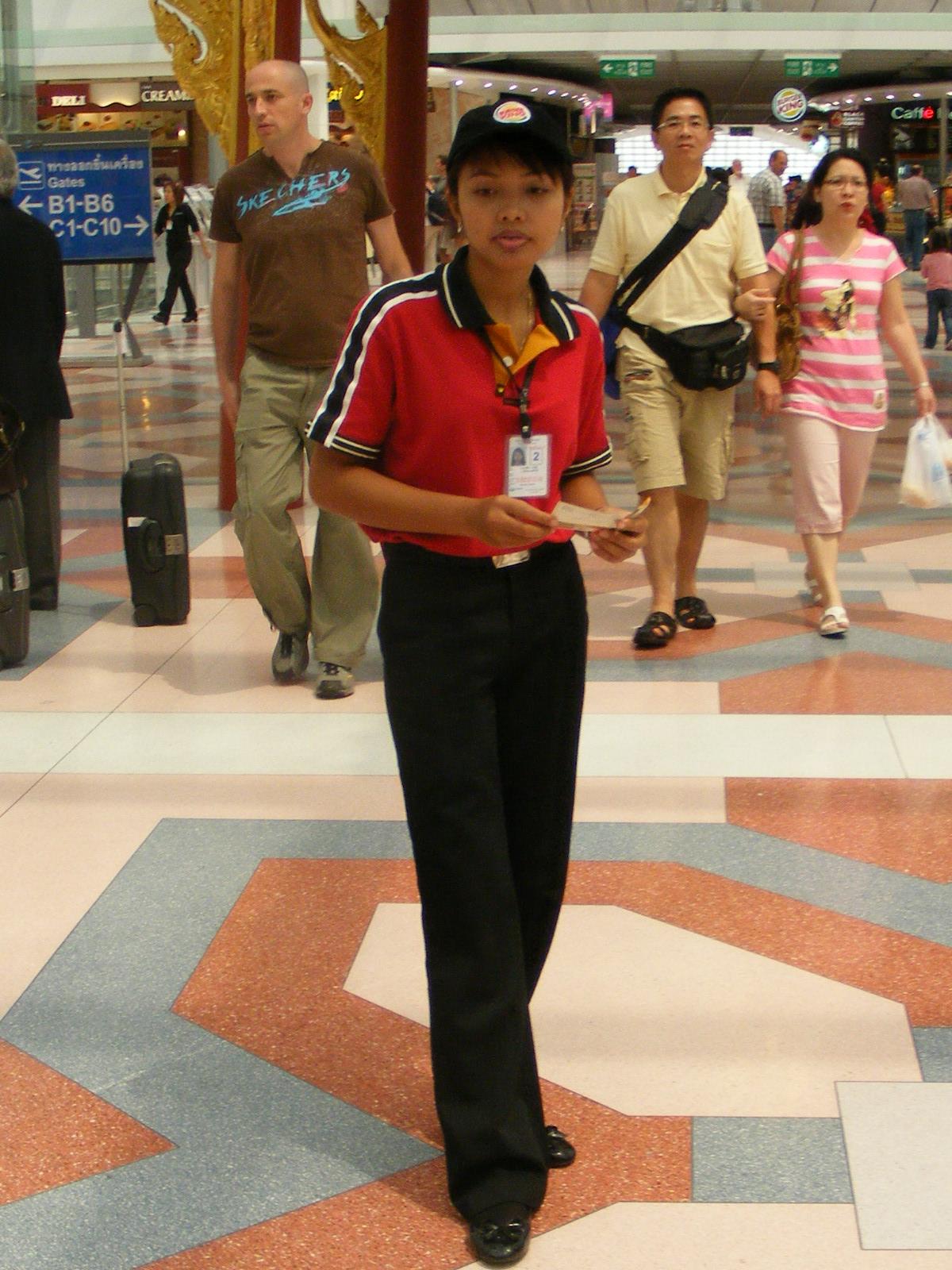 Female_Burger_King_employee_Suvarnabhumi_Airport_Thailand